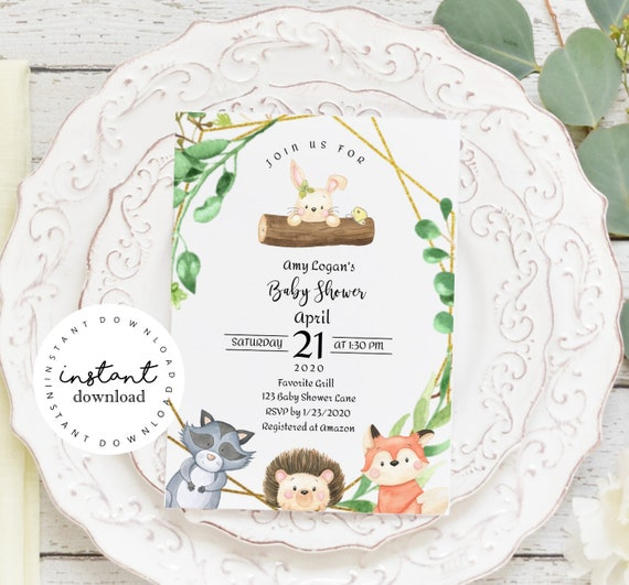 Woodland Animals Baby Shower Invite Template - - virtual baby shower invitation