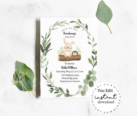 Woodland Animals Baby Shower Invitation template