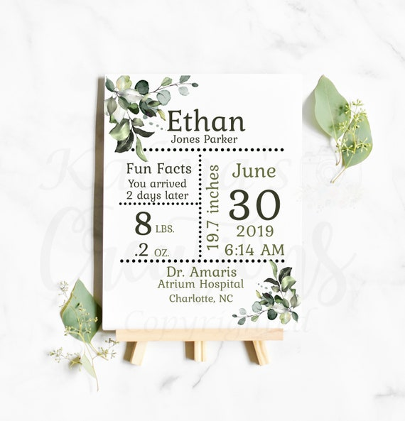 "Birth Stats Template 8 x 11"", birth announcement sign new baby gift, KC40"