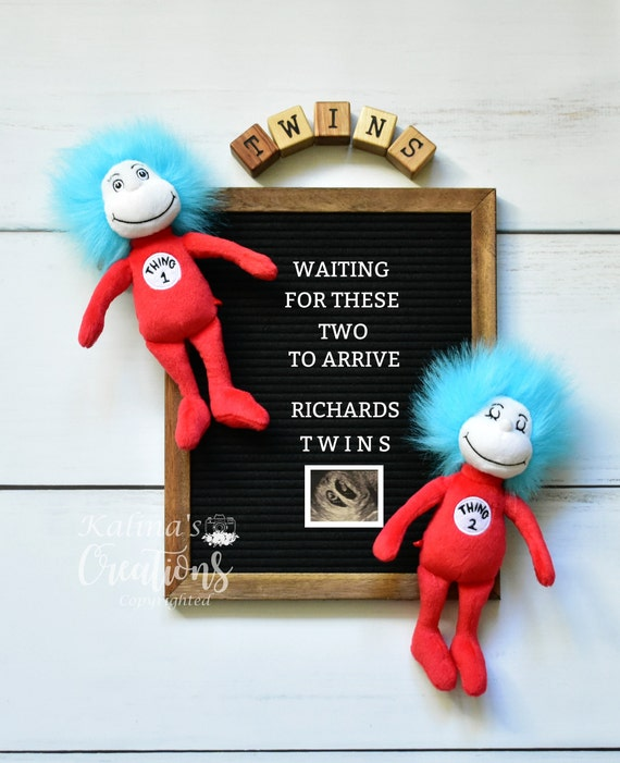 Twins Baby Reveal Digital Pregnancy Announcement for Social Media & Printable