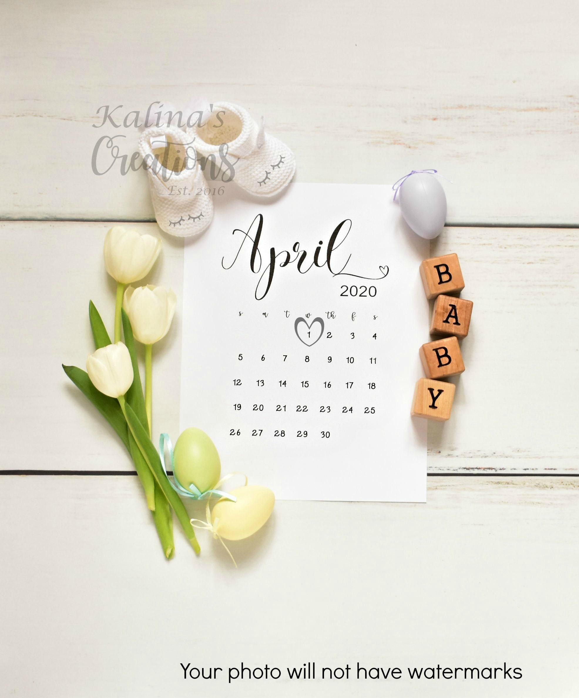 Easter 2020 Calendar.April 2020 Easter Pregnancy Announcement For Social Media