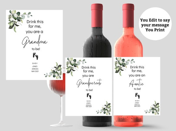 Pregnancy Announcement Wine Label New Grandmother