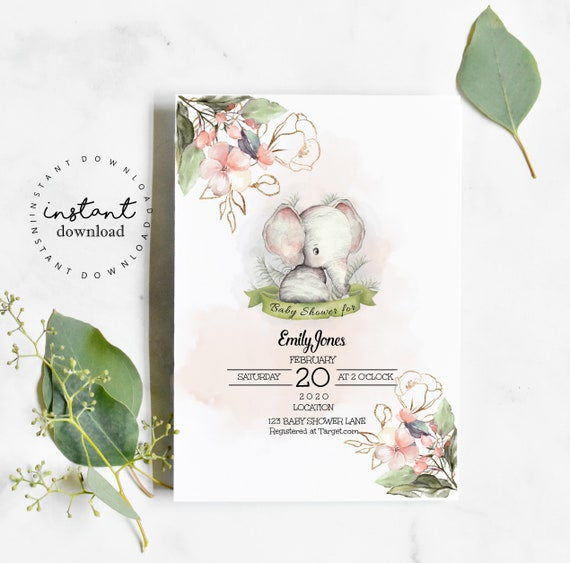 Elephant Invitation Baby Shower- virtual baby shower invitation