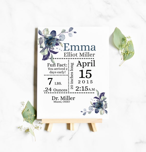 "Birth Stats Template 8 x 11"", birth announcement sign new baby gift, KC20"