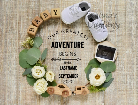 Travel and Adventure Baby Announcement Digital