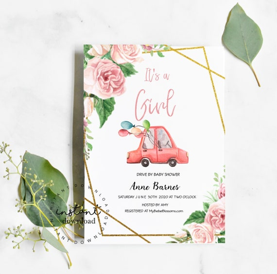 Drive By Baby Girl Baby Shower Invitation Template - It's a Girl- virtual baby shower invitation