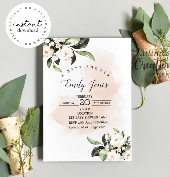 Flowers Baby shower invitation template, KC25