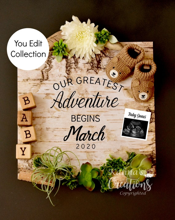 Greatest Adventure Begins Pregnancy Announcement for social media - gender neutral