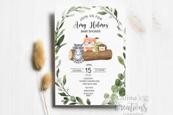 Woodland Animals Baby Shower By Mail Shower Note Ferns- Woodland- virtual baby shower invitation