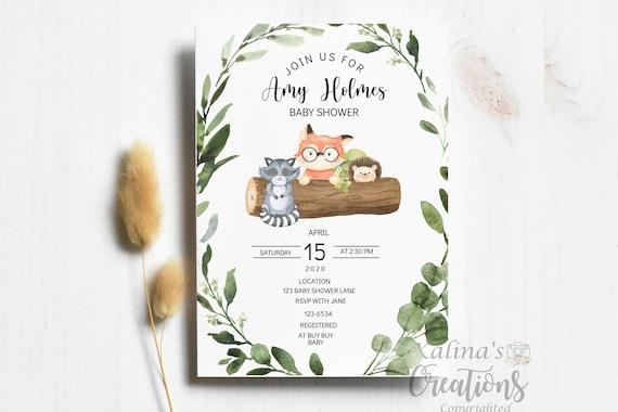 Woodland Animals Baby Shower By Mail Shower Note Ferns- Woodland- virtual baby shower invitation