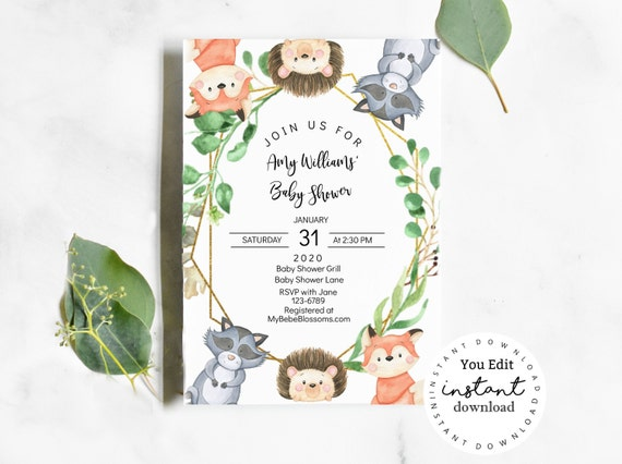 Woodland Animals Baby Shower Invite, KC15, baby shower invitation template - virtual baby shower invitation