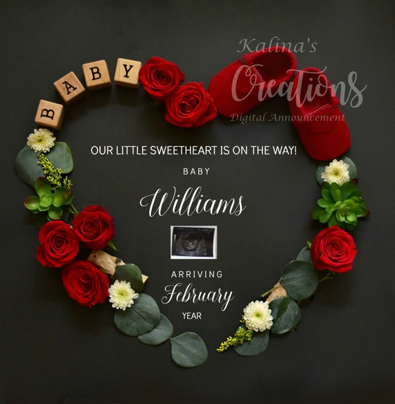Valentines Baby Announcement for Social Media