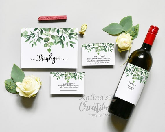 Printable Baby shower Invitation Bundle- Wine Bottle Label Greenery Baby Shower Bundle -  KC14- virtual baby shower invite
