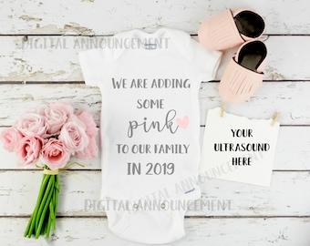 Girl Gender Digital Reveal / Social Media baby Announcement /