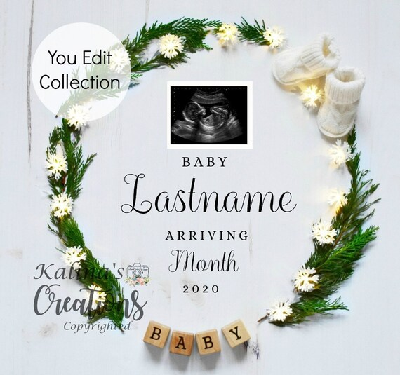 Winter Pregnancy Announcement Template for Social Media