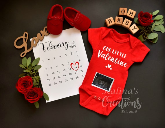 Valentines Personalize Pregnancy Announcement for Social Media