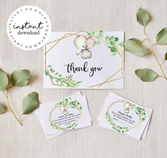 Greenery Elephant Boho Thank you Cards, Diaper Raffle Cards & Baby Books Cards