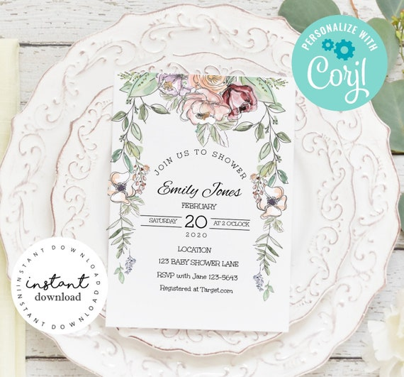 Pink Roses and Wild Flower Baby Shower Invite -baby shower invitation template- virtual baby shower invitation