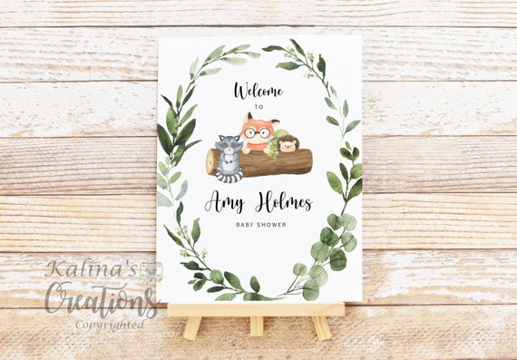 "Woodland Baby Shower Signs Printable 11""x14"", KC85"