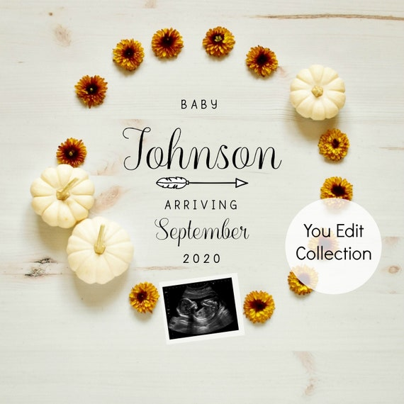 Fall Autumn Pumpkin Baby Announcement for Social Media