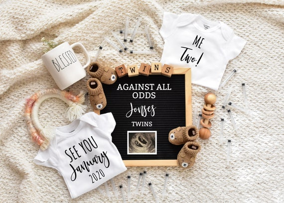 IVF Twin Pregnancy Announcement For Social Media Announce - pregnancy announcement digital -  virtual