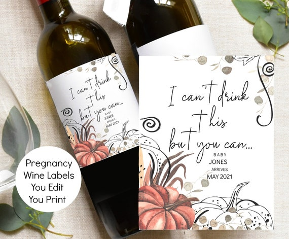 Pregnancy Announcement Wine Label Thanksgiving