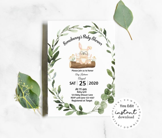 Twins Bunny Baby Shower Invitation template - virtual baby shower invitation