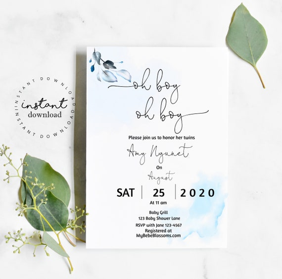 Oh Boy Baby Shower Invitation Template Twin Boys-KC125- virtual baby shower invitation