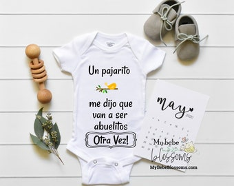 Second Time Pregnancy Reveal to Spanish Grandparents - Pregnancy Announcement Onesie for New Grandparents