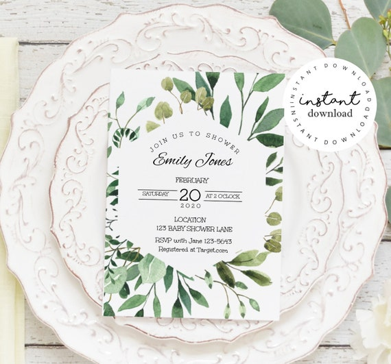 Greenery Baby Shower Invitation, KC16, baby shower invitation template