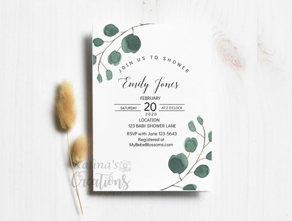 Greenery Ferns Baby Shower Invitation, baby shower invitation template- virtual baby shower invitation