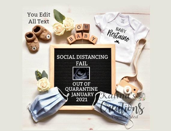 Quarantine Pregnancy Announcement Template -Social Distancing - pregnancy announcement digital -  virtual