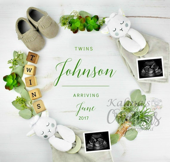 Twins Baby Reveal Digital Pregnancy Announcement for Social Media