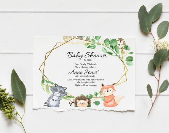 Woodland Animals Baby Shower By Mail Shower Note Ferns, KC15, baby shower invitation template