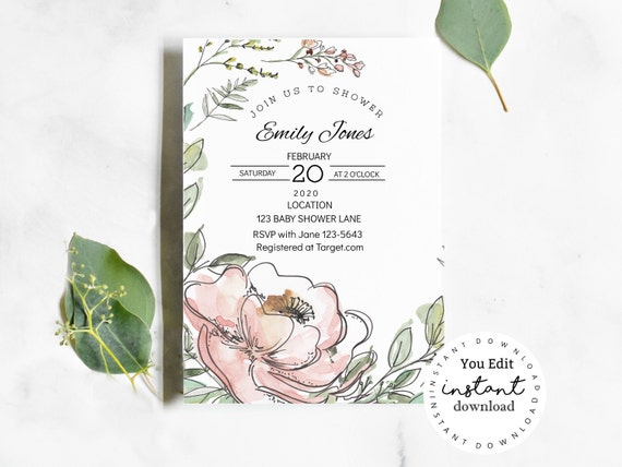 Pink Roses Baby Shower Invitation Template- KC98