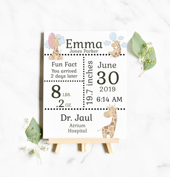 "Birth Stats Announce 8 x 11"" - birth announcement sign new baby gift"