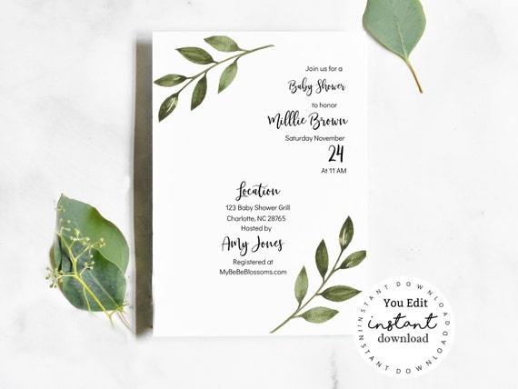 Greenery Baby Shower Invitation, baby shower invitation template - virtual baby shower invitation