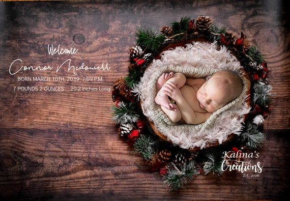 Christmas Birth Announcement - Newborn Printable Photograph