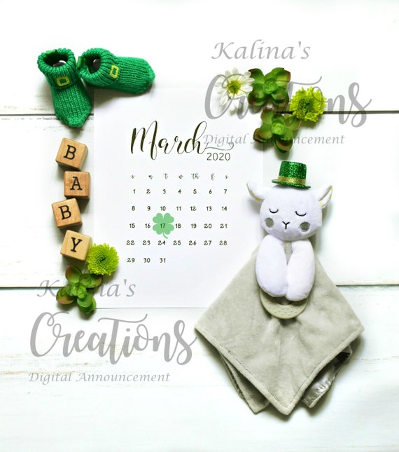 March 2020 Calendar for Pregnancy Announcement