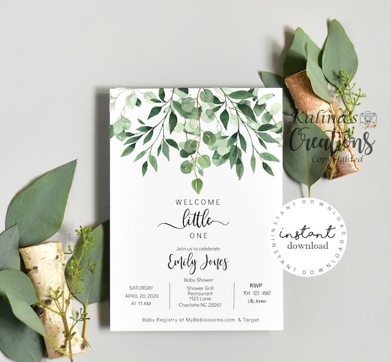Greenery Baby Shower Invitation, Baby shower invitation template, KC14- virtual baby shower invitation