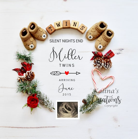 Christmas Twin Pregnancy Announcement