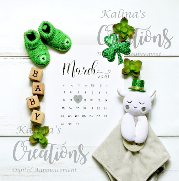 March 2020 Calendar Pregnancy Announcement