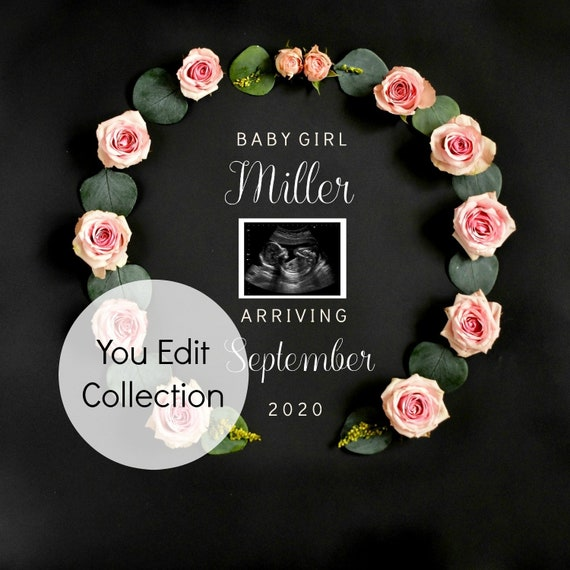 Baby Girl Gender Reveal - Pregnancy announcement Template