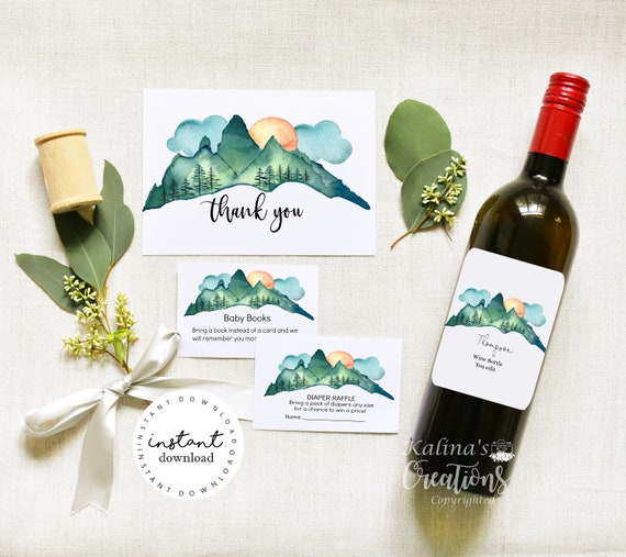 Printable Baby shower Invitation Bundle- Adventure Baby Shower with Wine Bottle Label, KC18- virtual baby shower invitation