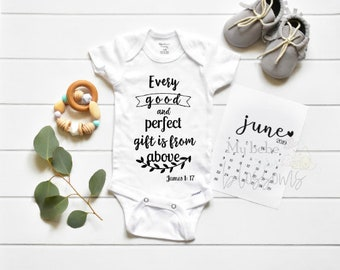 Onesie Christian verse James 1 17 / Baby Announcement / Bodysuit / Baby Reveal