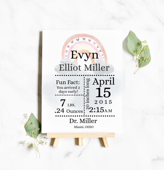 "Rainbow Birth Stats Printable 8 x 11"", birth announcement sign new baby gift-KC38"