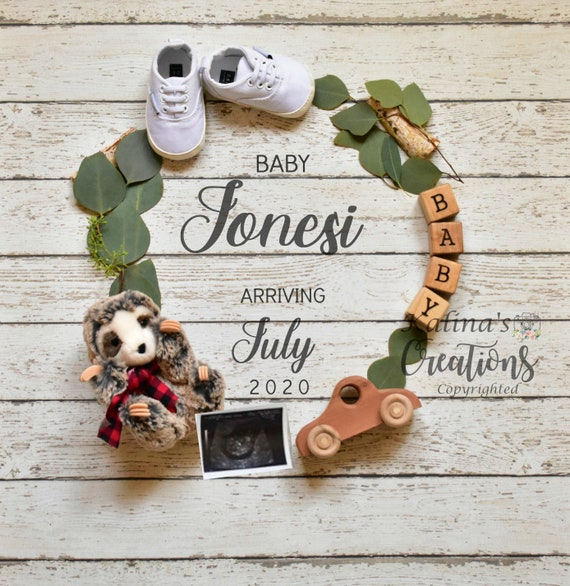 Woodland Sloth Baby Announcement for Social Media