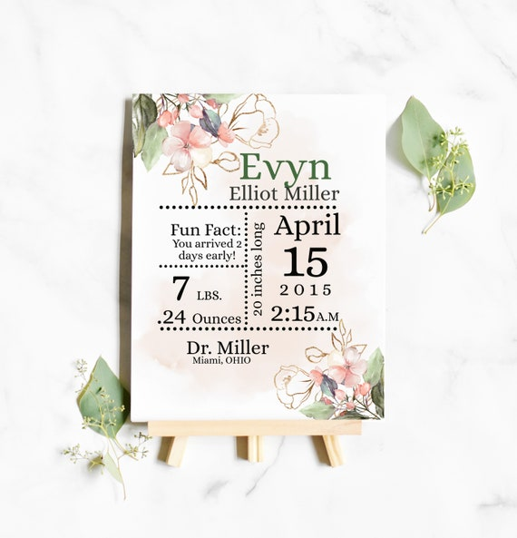 "Birth Stats Announce Template 8 x 11"" -  Nursery Wall Art Printable Girl - Personalized Baby Gifts"