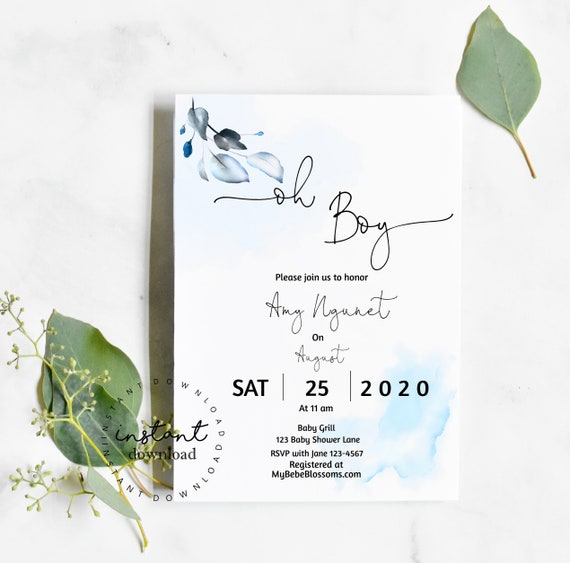 Oh Boy Baby Shower Invitation Template- virtual baby shower invitation