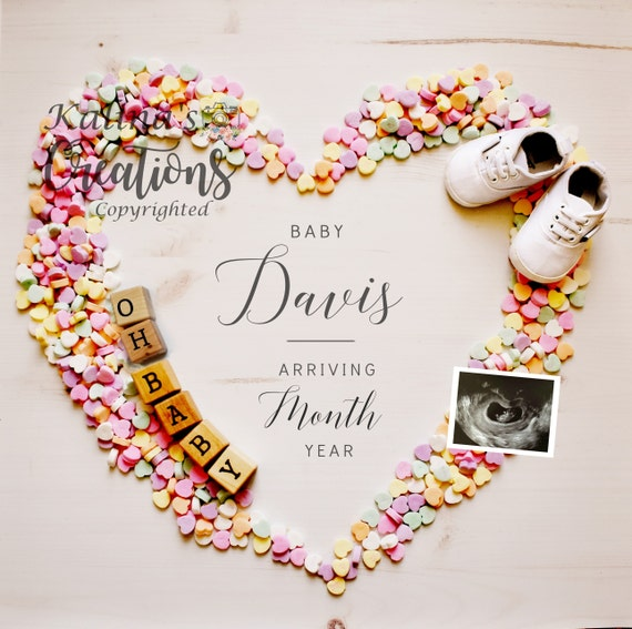 Valentines Day Pregnancy Announcement for Social Media Announcement - Valentine Heart Candy